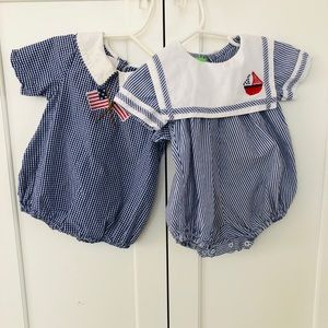 Blue and White Smocked Bubble Romper Bundle